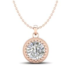 1 CTW VS/SI Diamond Solitaire Art Deco Necklace 18K Rose Gold - REF-292M5F - 36891