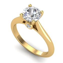 1.36 CTW VS/SI Diamond Solitaire Art Deco Ring 18K Yellow Gold - REF-509H3W - 37291