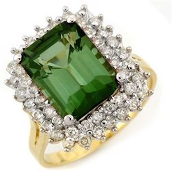 4.75 CTW Green Tourmaline & Diamond Ring 14K Yellow Gold - REF-112T5X - 11697