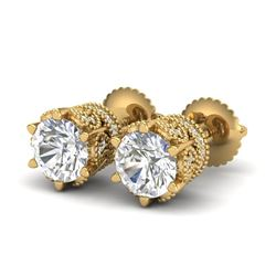 2.04 CTW VS/SI Diamond Solitaire Art Deco Stud Earrings 18K Yellow Gold - REF-361W8H - 37243