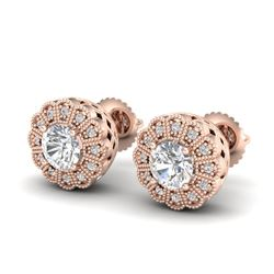 1.32 CTW VS/SI Diamond Solitaire Art Deco Stud Earrings 18K Rose Gold - REF-245H5W - 37053