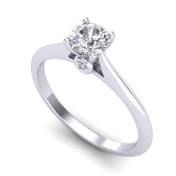 0.56 CTW VS/SI Diamond Solitaire Art Deco Ring 18K White Gold - REF-106W8H - 37280