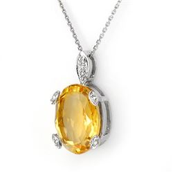 10.10 CTW Citrine & Diamond Necklace 18K White Gold - REF-62X4T - 11677