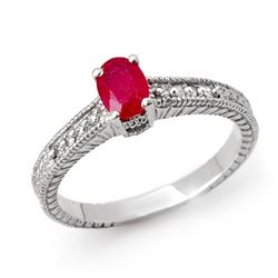 1.01 CTW Ruby & Diamond Ring 14K White Gold - REF-29H3W - 13785