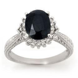 2.75 CTW Blue Sapphire & Diamond Ring 18K White Gold - REF-69K3R - 12755
