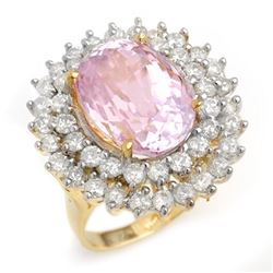 12.08 CTW Kunzite & Diamond Ring 14K Yellow Gold - REF-264T2X - 14335