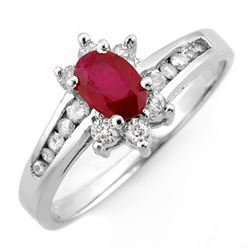 1.03 CTW Ruby & Diamond Ring 14K White Gold - REF-45R5K - 10907