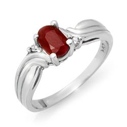 0.85 CTW Ruby & Diamond Ring 18K White Gold - REF-34H4W - 12515