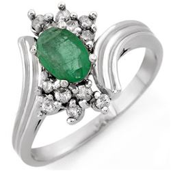 0.80 CTW Emerald & Diamond Ring 18K White Gold - REF-44H9W - 10664