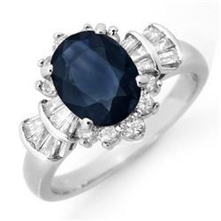 2.13 CTW Blue Sapphire & Diamond Ring 18K White Gold - REF-96W4H - 13327