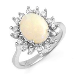 1.78 CTW Opal & Diamond Ring 18K White Gold - REF-74N8Y - 13268