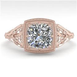 1.0 CTW Certified VS/SI Cushion Diamond Engagement Ring Deco 18K Rose Gold - REF-344F4M - 36044