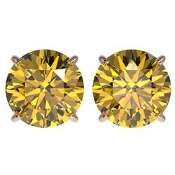 4 CTW Certified Intense Yellow SI Diamond Solitaire Stud Earrings 10K Rose Gold - REF-824K2R - 33140