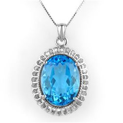 18.0 CTW Blue Topaz Necklace 14K White Gold - REF-72R4K - 10507