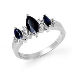 1.0 CTW Blue Sapphire & Diamond Ring 18K White Gold - REF-37H3W - 12896