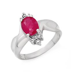 1.83 CTW Ruby & Diamond Ring 18K White Gold - REF-44K9R - 13930
