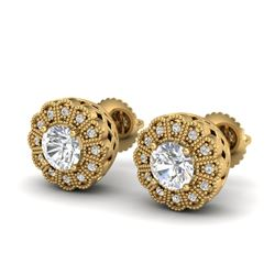 1.32 CTW VS/SI Diamond Solitaire Art Deco Stud Earrings 18K Yellow Gold - REF-245X5T - 37054