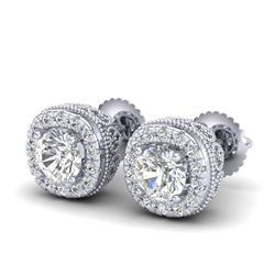 1.69 CTW VS/SI Diamond Solitaire Art Deco Stud Earrings 18K White Gold - REF-263X6T - 37118
