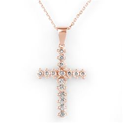 0.75 CTW Certified VS/SI Diamond Necklace 14K Rose Gold - REF-50N8Y - 10568