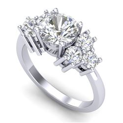 2.1 CTW VS/SI Diamond Solitaire Ring 18K White Gold - REF-563N6Y - 36941