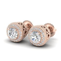 1.55 CTW VS/SI Diamond Solitaire Art Deco Stud Earrings 18K Rose Gold - REF-259N3Y - 36963