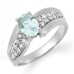 1.20 CTW Aquamarine & Diamond Ring 18K White Gold - REF-60X2T - 14523