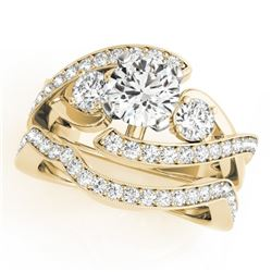 2.54 CTW Certified VS/SI Diamond Bypass Solitaire 2Pc Wedding Set 14K Yellow Gold - REF-609N6Y - 317