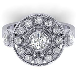 0.85 CTW Certified VS/SI Diamond Art Deco 3 Stone Ring 14K White Gold - REF-102Y5N - 30471