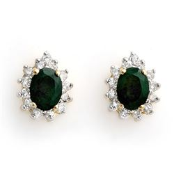 3.85 CTW Emerald & Diamond Earrings 14K Yellow Gold - REF-65R3K - 10508
