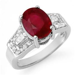 5.55 CTW Ruby & Diamond Ring 14K White Gold - REF-78W2H - 11702