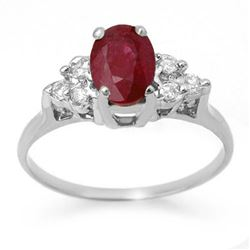 1.35 CTW Ruby & Diamond Ring 18K White Gold - REF-41F8M - 13627
