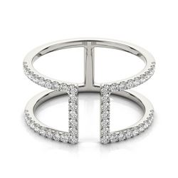 0.65 CTW Certified VS/SI Diamond Designer Fashion Ring 18K White Gold - REF-80F2M - 28298