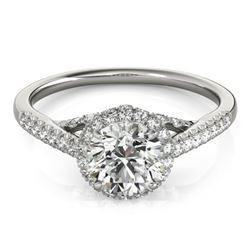 1.5 CTW Certified VS/SI Diamond Solitaire Halo Ring 18K White Gold - REF-392K2R - 26991