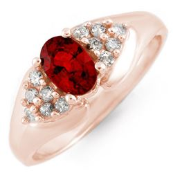 0.90 CTW Red Sapphire & Diamond Ring 14K Rose Gold - REF-40H9W - 10880