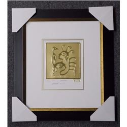 """Chrisyisn Morriseau """"Ojiburay Brothers"""" 24kt Gold Leaf Embossed Litho. Limited Edition/100/ww. Galle"""