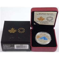 2014 $20 Fine Silver Coin - The Great Lakes: Lake Superior.