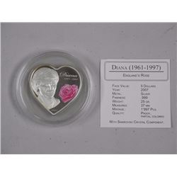 9.9 Fine Silver 5-Dollars- 'Diana' 'Englands Rose' Heart Shape Coin. Limited Edition-Proof- w/COA.