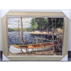 Tam Thomson, Omega Canvas Collection 'The Canoe' Gallery Frame 31x41 w/COA.
