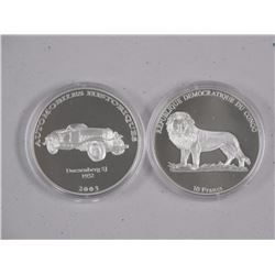 (2) 9.9 Fine Silver Historic Classic Coins. 2003-10 Francs. Proof.
