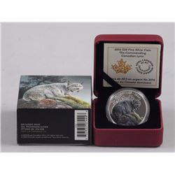 RCM 9.9 Fine Silver Coin The Commanding Canadian Lynx Limited Edition w/COA.