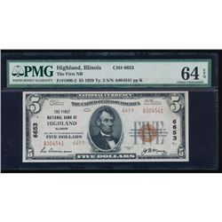 1929 $5 Highland National Bank Note PMG 64EPQ