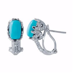 14KT White Gold 2.51ctw Turquoise and Diamond Earrings