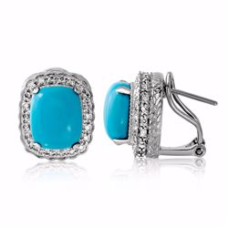 14KT White Gold 5.31ctw Turquoise and Diamond Earrings
