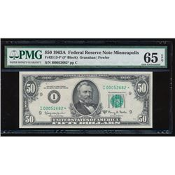 1963A $50 Minneapolis Federal Reserve Star Note PMG 65EPQ