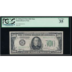 1934A $500 New York Mule Federal Reserve Note PCGS 35