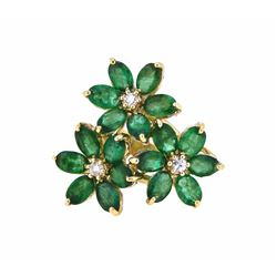 14KT Yellow Gold 7.05ctw Emerald and Diamond Ring