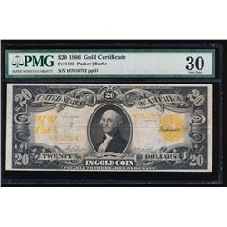 1906 $20 Large Gold Certificate PMG 30