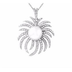 14KT White Gold 10.10ct Pearl and Diamond Pendant with Chain