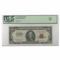 1966-A $100 Red Seal Legal Tender Note PCGS VF25