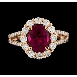 14KT Rose Gold 1.73ct Pink Tourmaline and Diamond Ring